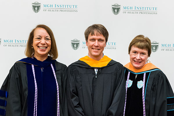 Jason R. Lucey (c) with Dean Inez Tuck (l) and Interim Director of the Doctor of Nursing Practice Programs Margaret Hamilton Sipe