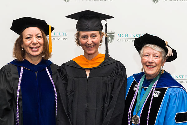 Sarah C. Rossmassler (c) with Dean Inez Tuck (l) and Associate Dean for Academic Affairs and Program Innovation Linda Andrist