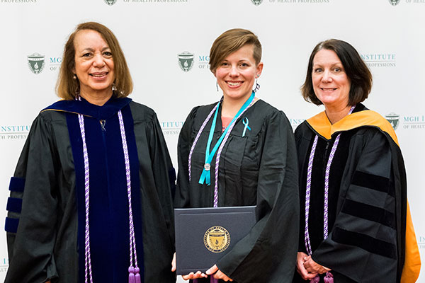 (l-r) Dean Inez Tuck, Julia Ellen Wagner, and Program Director of the Prelicensure/Generalist Programs Suellen Breakey