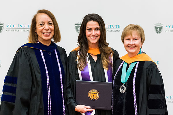 Stephanie Allard Chiappa (c) with Dean Inez Tuck (l) and Director of the Advanced Practice Graduate and CAS Programs Patricia Reidy