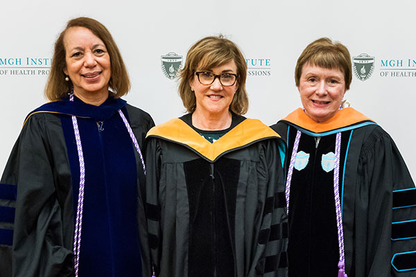 Christine McNulty Buckley (c) with Dean Inez Tuck (l) and Interim Director of the Doctor of Nursing Practice Programs Margaret Hamilton Sipe