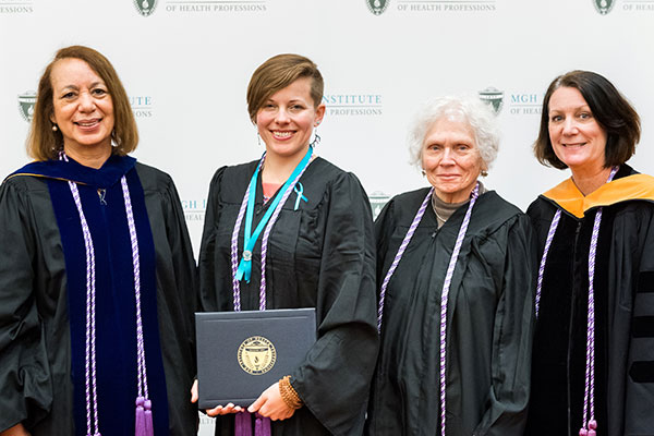 (l-r) Dean Inez Tuck, Julia Ellen Wagner, MGH School of Nursing Alumna Margery Eramo '57, and Program Director of the Prelicensure/Generalist Programs Suellen Breakey