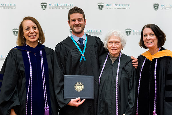 (l-r) Dean Inez Tuck, Anthony Paul Albina, MGH School of Nursing Alumna Margery Eramo '57, and Program Director of the Prelicensure/Generalist Programs Suellen Breakey