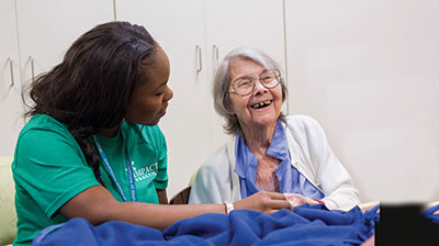 Nursing student with older client