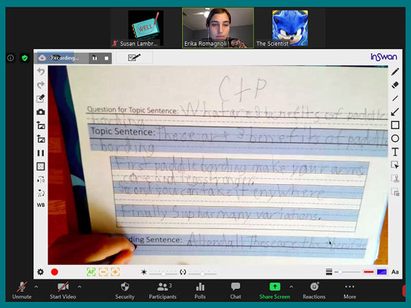 Screenshot of a zoom meeting with the big window showing a completed student writing exercise