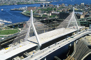 Photo of the Zakim Bridge approach to Charlestown