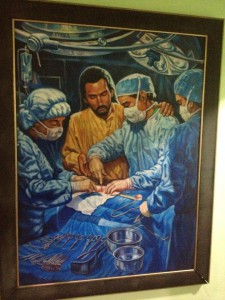 A painting in the OR at Good Samaritan Hospital which incorporates the medical and spiritual aspects of healing.
