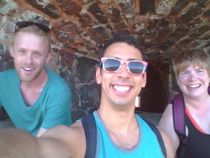 Pictured: Ethan and friends inside of an old fortress. Not pictured: the cannon directly behind my head.