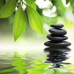Serene image of stacks stones, leaves and blossoms, and water